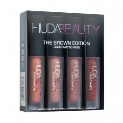 Zestaw 4 matowych płynnych pomadek  do ust Huda Beauty - Liquid Matte Minis -w kolorach The Brown Edition