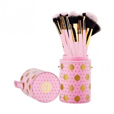Zestaw pędzli  - BH Cosmetics -  Dot Collection PINK