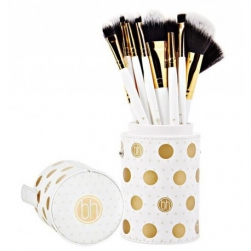Zestaw pędzli  - BH Cosmetics -  Dot Collection 11 Piece Brush Set White