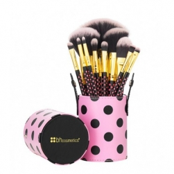 Zestaw pędzli  - BH Cosmetics - Pink-A-Dot  11 Piece Brush Set